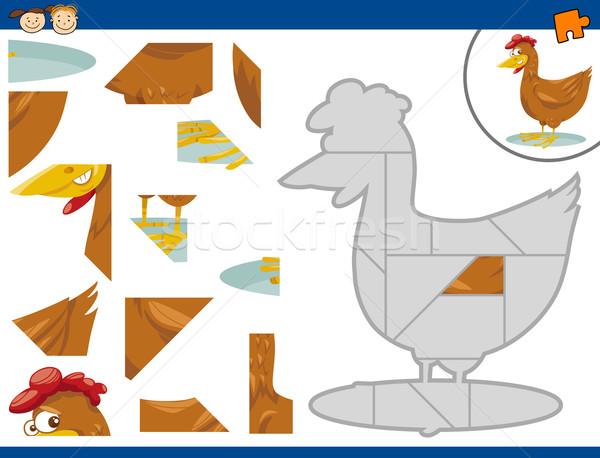 Cartoon gallina rompecabezas tarea ilustración educativo Foto stock © izakowski