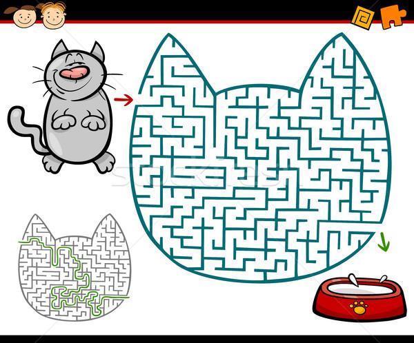 Labirintus labirintus feladat rajz illusztráció oktatás Stock fotó © izakowski