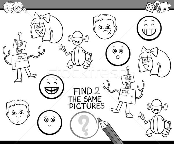 Actividad tarea blanco negro Cartoon ilustración encontrar Foto stock © izakowski