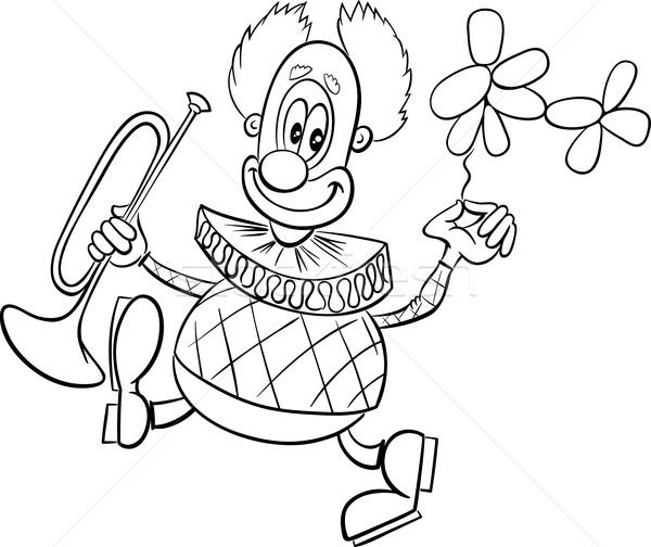 funny clown coloring page vector illustration Igor Zakowski