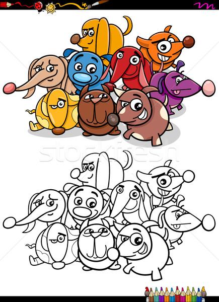 Honden groep kleurboek cartoon illustratie grappig Stockfoto © izakowski