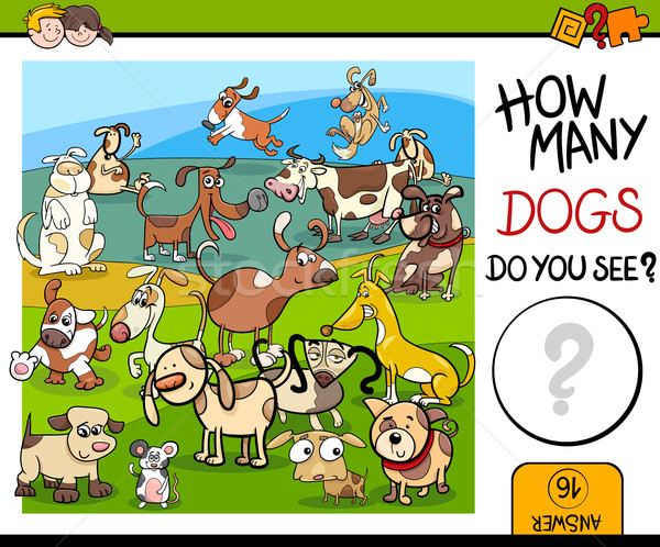 Stock photo: counting game with spotted dogs