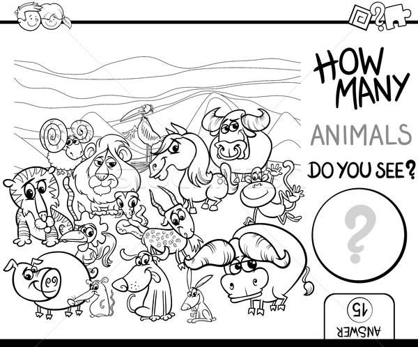 count the animals for coloring Stock photo © izakowski