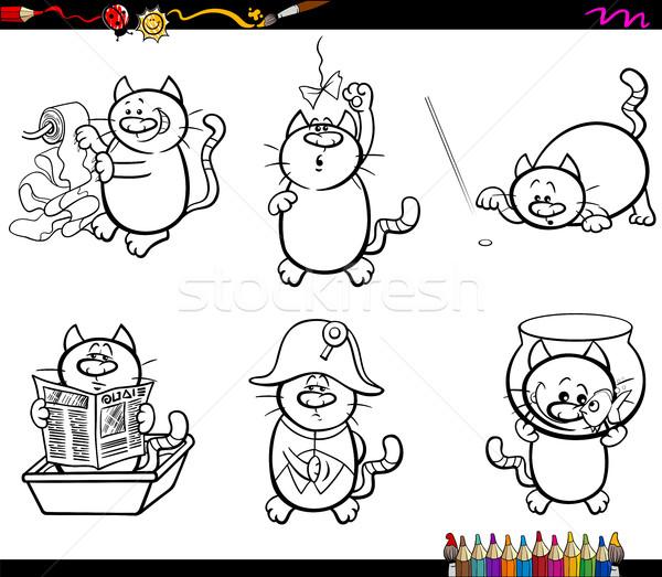 cat characters coloring page Stock photo © izakowski