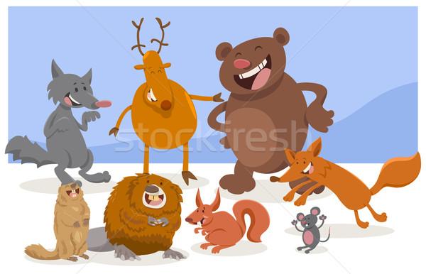 wild cartoon animal characters Stock photo © izakowski