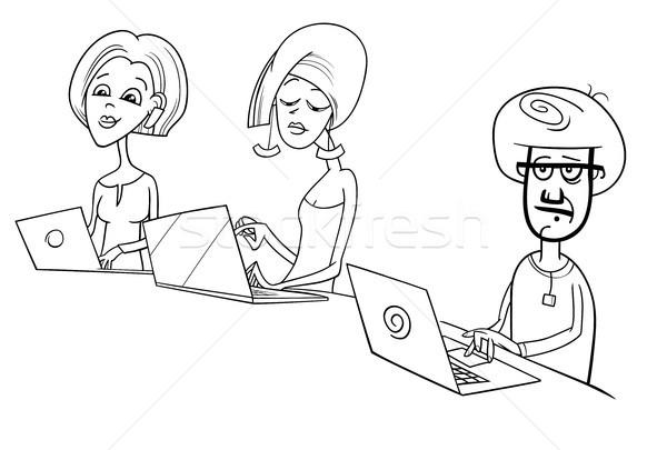 Emberek dolgoznak laptopok rajz illusztráció feketefehér notebook Stock fotó © izakowski