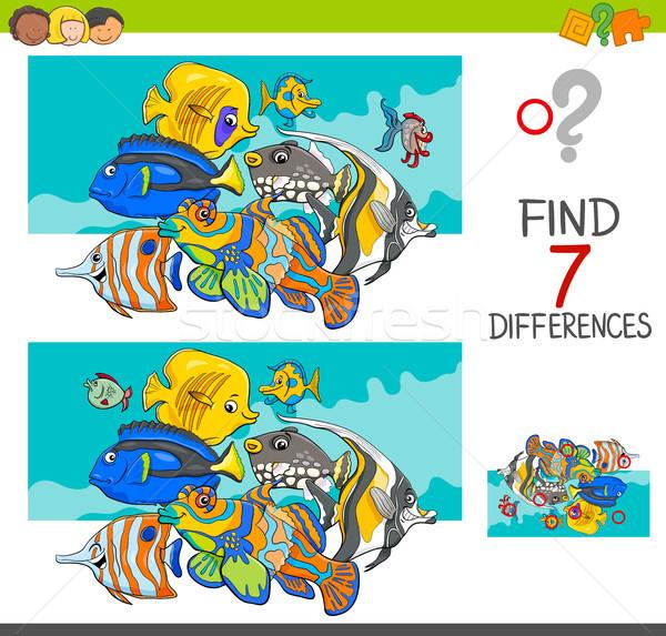 見つける 違い 魚 動物 漫画 ストックフォト © izakowski
