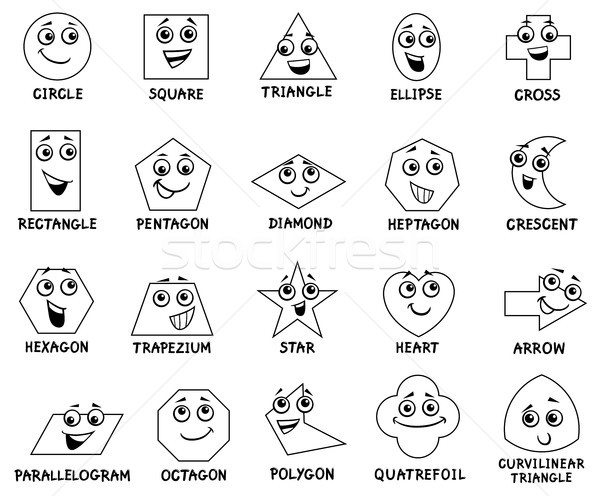 cartoon basic geometric shapes characters Stock photo © izakowski