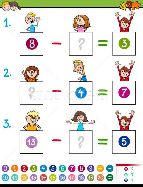 Matematyka odejmowanie gry dziecko cartoon Zdjęcia stock © izakowski