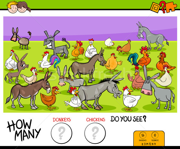 counting donkeys and chickens educational game Stock photo © izakowski