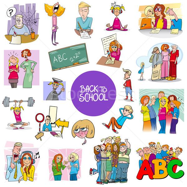 Schule Bildung Karton Set Karikatur Illustration Stock foto © izakowski