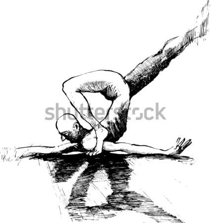 アクロバット 黒白 スケッチ 実例 男 芸術 ストックフォト © izakowski