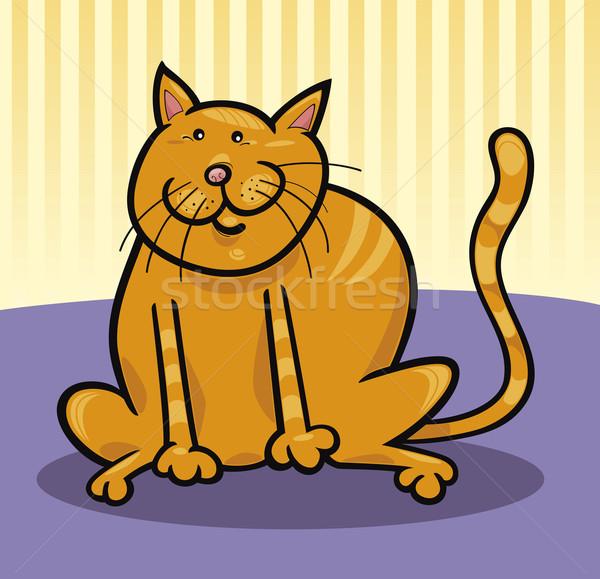 Amarelo gato desenho animado ilustração engraçado sessão Foto stock © izakowski