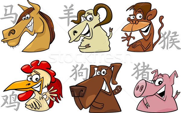 459ff59d7 six chinese zodiac signs vector illustration © Igor Zakowski ...