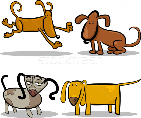 Cute cartoon cani cuccioli set illustrazione Foto d'archivio © izakowski
