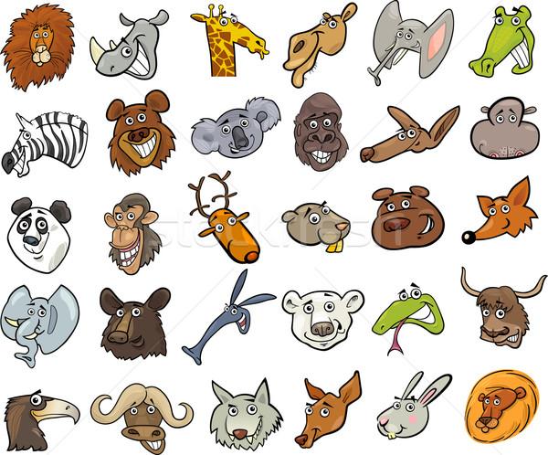 Cartoon dzikie zwierzęta ogromny zestaw inny funny Zdjęcia stock © izakowski