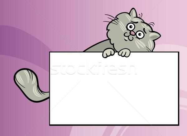 Karikatür kedi tahta kart örnek komik Stok fotoğraf © izakowski