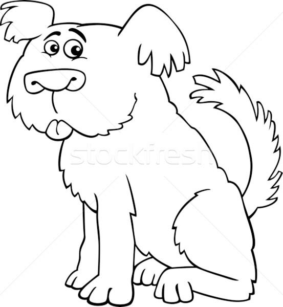 Juhászkutya kócos kutya kifestőkönyv rajz illusztráció Stock fotó © izakowski