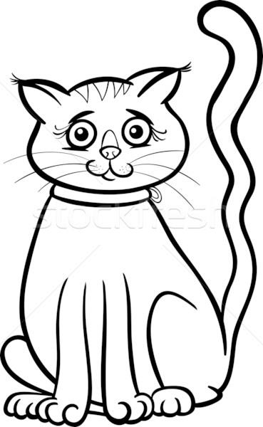Femminile Cat Cartoon Libro Da Colorare Bianco Nero