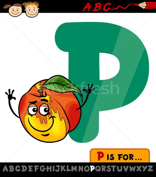 Pêssego desenho animado ilustração alfabeto Foto stock © izakowski