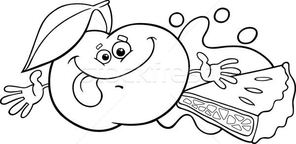 Szarlotka cartoon strona czarno białe ilustracja funny Zdjęcia stock © izakowski