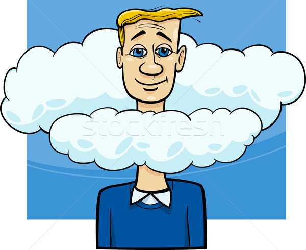 Hoofd wolken gezegde cartoon humor illustratie Stockfoto © izakowski