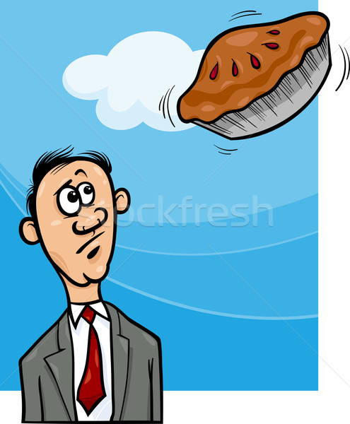 Taart hemel gezegde cartoon humor illustratie Stockfoto © izakowski