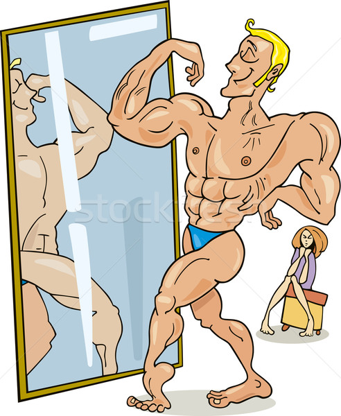 Muscular man and the mirror Stock photo © izakowski