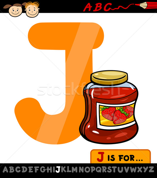 letter j with jam cartoon illustration Stock photo © izakowski