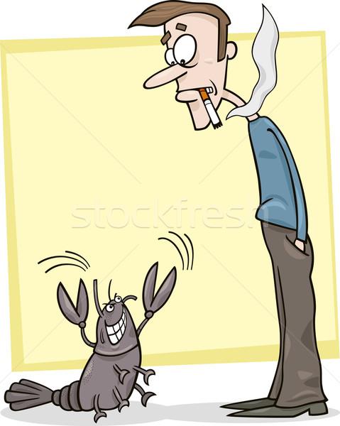 курильщик рак Cartoon метафора иллюстрация испуганный Сток-фото © izakowski
