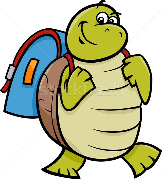 turtle with satchel cartoon illustration Stock photo © izakowski
