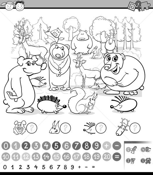 Hayvanlar Boyama Kitabı Siyah Beyaz Karikatür örnek