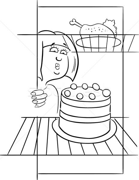 hungry woman on diet drawing Stock photo © izakowski