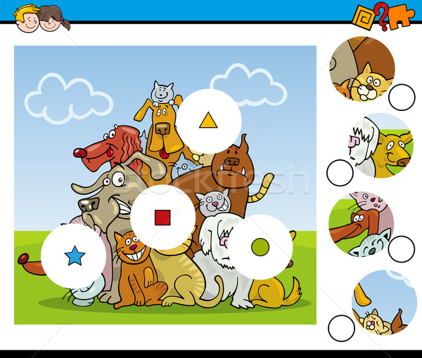 Match pezzi attività cartoon illustrazione educativo Foto d'archivio © izakowski