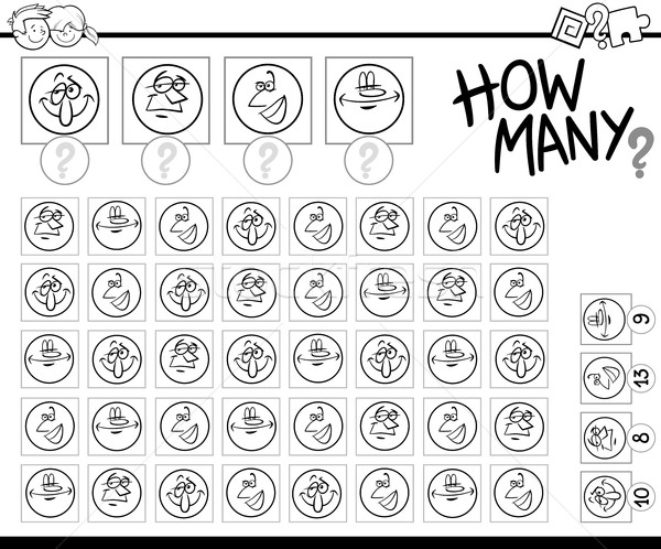 counting faces coloring page Stock photo © izakowski