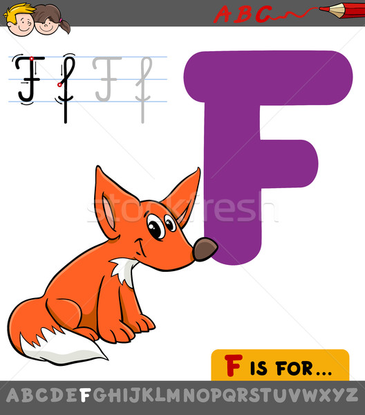 Stock photo: letter f with cartoon fox