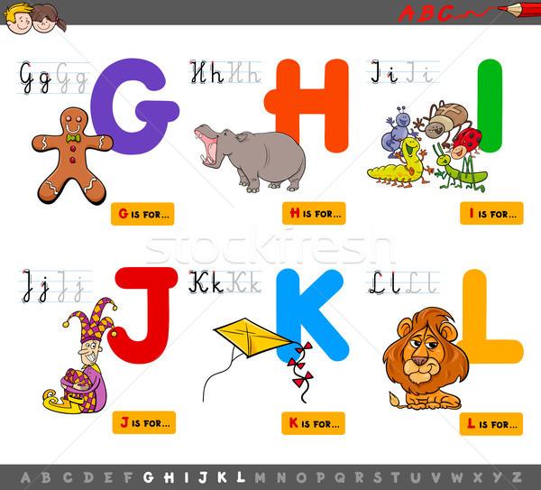 Сток-фото: образовательный · Cartoon · алфавит · дети · иллюстрация · письма