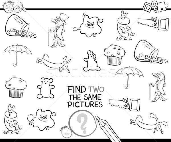find two the same pictures coloring page Stock photo © izakowski
