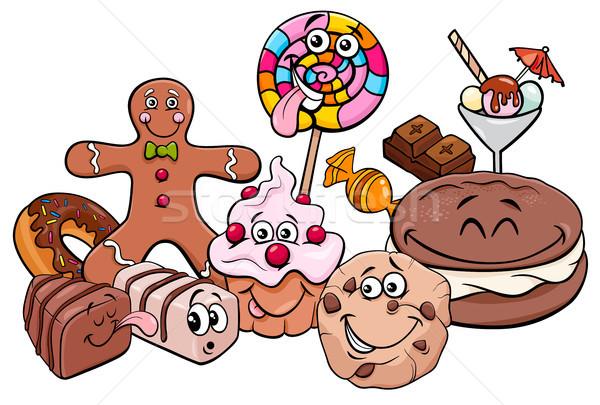 конфеты группа Cartoon иллюстрация сладкие блюда Сток-фото © izakowski