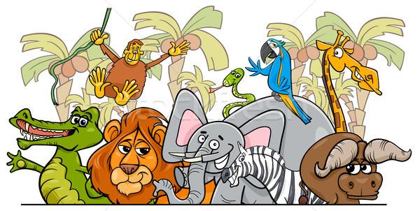 Rajz afrikai szafari vadállatok csoport illusztráció Stock fotó © izakowski