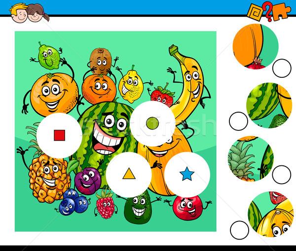 Partido piezas rompecabezas frutas Cartoon Foto stock © izakowski
