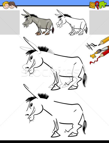 drawing and coloring worksheet with donkey Stock photo © izakowski