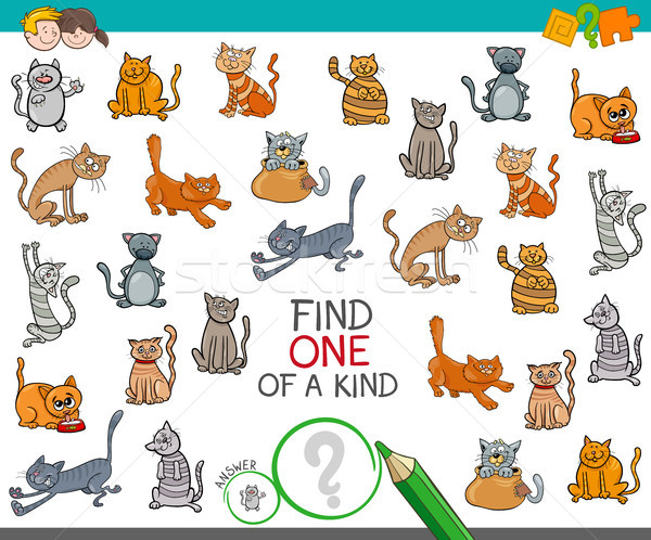 find one of a kind with cats animal characters Stock photo © izakowski
