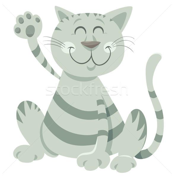 funny tabby cat cartoon animal character Stock photo © izakowski