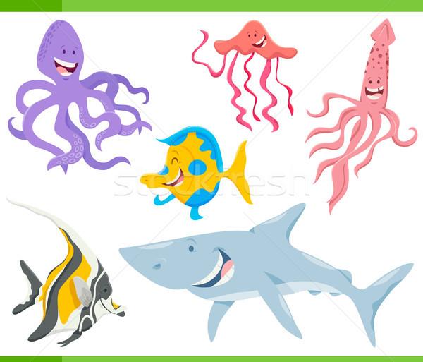 Hal tenger élet állatok betűk szett Stock fotó © izakowski