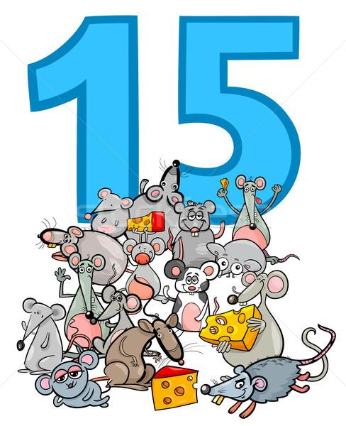 Szám tizenöt rajz egerek csoport illusztráció Stock fotó © izakowski