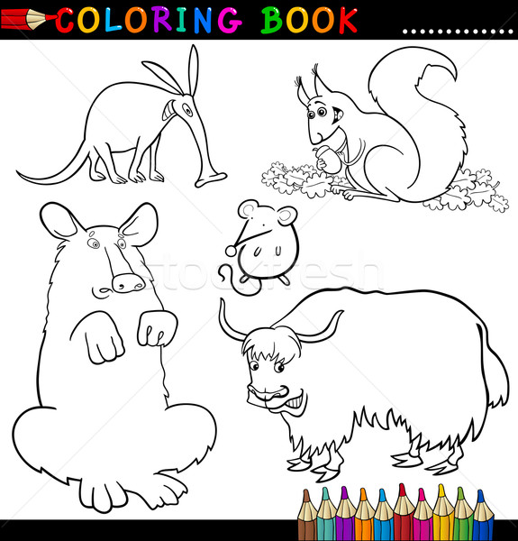 Animali libro da colorare pagina cartoon illustrazione divertente Foto d'archivio © izakowski