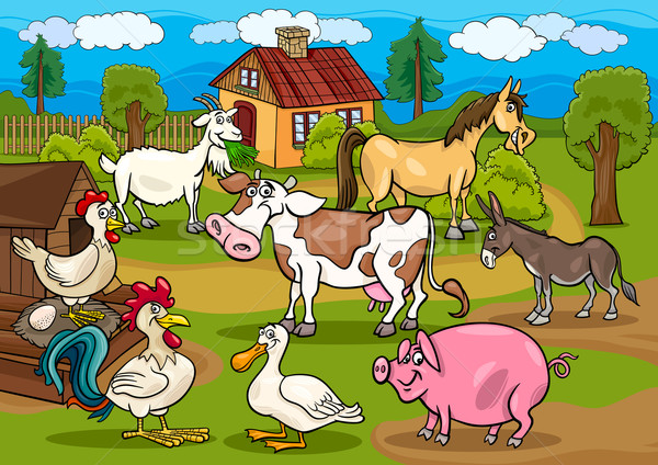 farm animals rural scene cartoon illustration Stock photo © izakowski