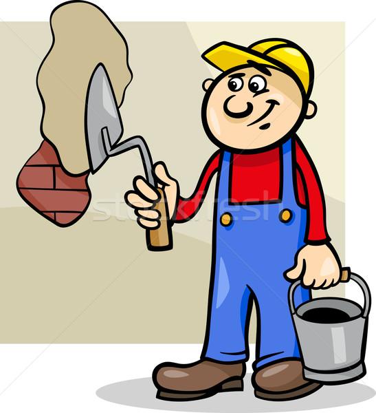 worker with trowel cartoon illustration Stock photo © izakowski