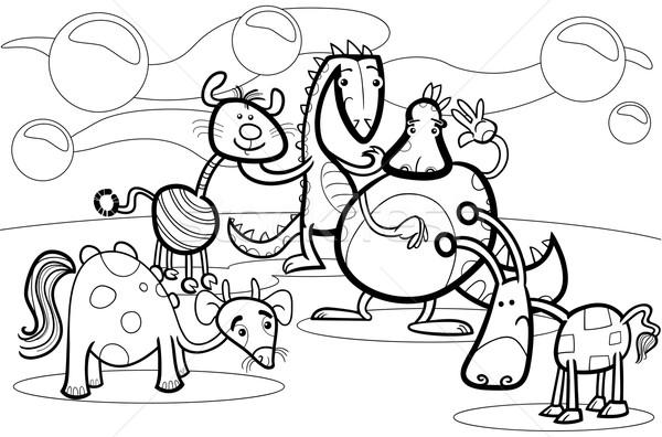 cartoon fantasy group coloring book Stock photo © izakowski